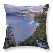 Crater Lake And Approaching Clouds Throw Pillow