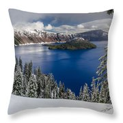 Crater Lake And Fresh Snow Panorama Throw Pillow
