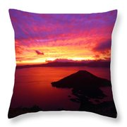 Crater Lake Fire In The Sky Throw Pillow