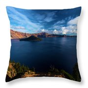 Crater Lake Minus Trees Throw Pillow