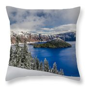 Crater Lake Panorama 1 Throw Pillow