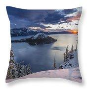 Crater Lake Snow Sunrise Throw Pillow