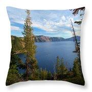 Crater Lake Through The Trees Throw Pillow