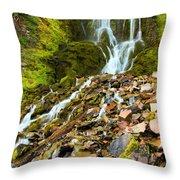 Crater Lake Waterfall Throw Pillow