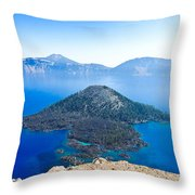 Crater Lake Wizard Island Throw Pillow