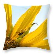 Crawling Along The Sunflower Throw Pillow