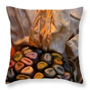 Crazee Corn Colors Throw Pillow