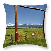 Crazy Mountain Ranch Gate Throw Pillow