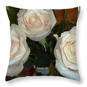 Creamy Roses II Throw Pillow