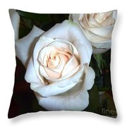 Creamy Roses IIi Throw Pillow