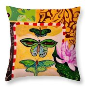 Oil Collage Throw Pillow