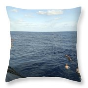 Crew Members Of The Uss Portsmouth Throw Pillow