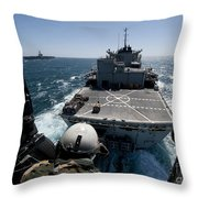 Crewman Guides The Pilots Of An Hh-60h Throw Pillow