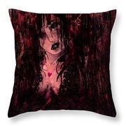 Crimson Torn Lace Throw Pillow