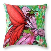 Crimson Wings Throw Pillow