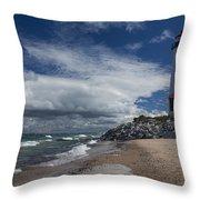 Crisp Point Lighthouse 5 Throw Pillow