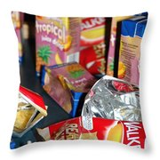 Crisps And Drinks Throw Pillow