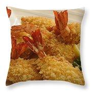 Crispy Fried Prawns Throw Pillow