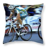 Criterium Bicycle Race 3 Throw Pillow