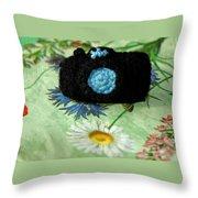 Crochet Camera Color Throw Pillow