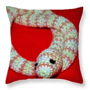 Crochet Snake In Red Throw Pillow