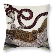 Crocodile & Snake Throw Pillow