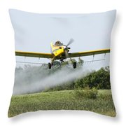 Crop Dusting Plane In Action Throw Pillow