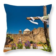 Cross At Mission San Jose Texas Throw Pillow
