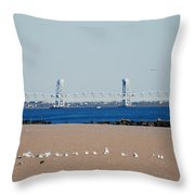 Cross Bay Bridge Throw Pillow