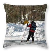 Cross Country Skier On Cape Cod Throw Pillow