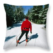 Cross-country Skiing, Lake Placid, New Throw Pillow