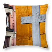 Cross In The City Of Madrid Throw Pillow