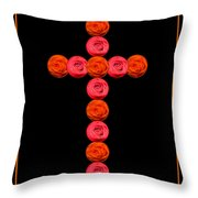 Cross Of Red And Orange Roses Throw Pillow