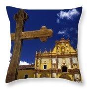 Cross Outside San Cristobal De Las Throw Pillow