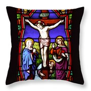 Cross Stained Glass Throw Pillow