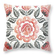 Cross Stitch Roses Throw Pillow