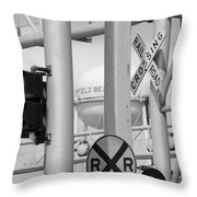 Crossing Signs In Black And White  Throw Pillow
