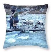 Crossing The Ourika River Throw Pillow