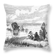 Crossing The Platte, 1859 Throw Pillow by Granger