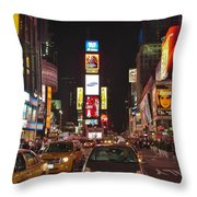 Crossing The Street At Times Square At Night Throw Pillow