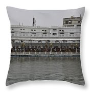Crowd Of Devotees Inside The Golden Temple Throw Pillow