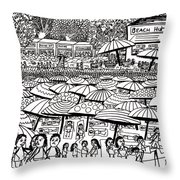 Crowded Beach Black And White Throw Pillow
