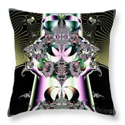 Crown And Jeweled Lotus Flowers Fractal 124 Throw Pillow
