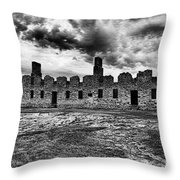 Crown Point Barracks Black And White Throw Pillow