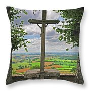 Crucifix Overlooking The French Countryside Throw Pillow