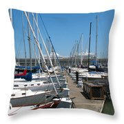Cruise Ship And Sailboats Pier 39 Throw Pillow