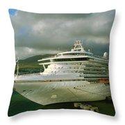 Cruise Ship In Port Throw Pillow
