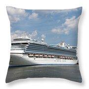 Cruise Ships At Cruiseport Boston Throw Pillow