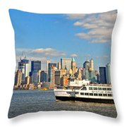 Cruising Past The Freedom Tower Throw Pillow