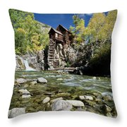Crystal Mill In Autumn Throw Pillow